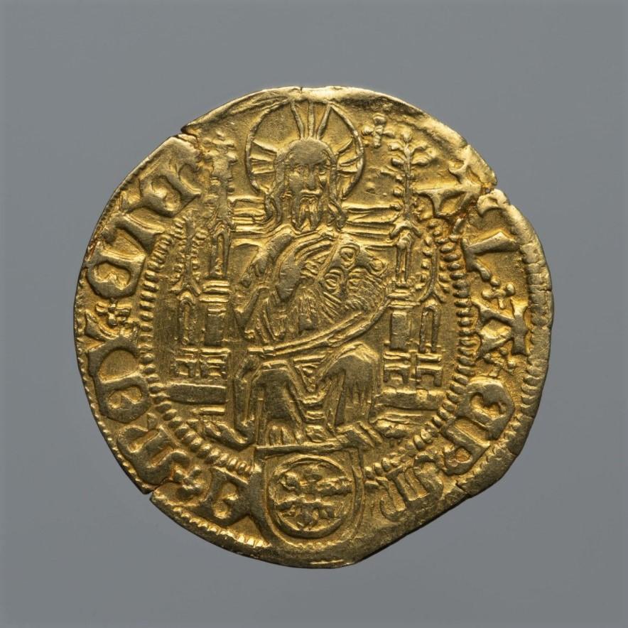 Священная Римская империя, Майнцское архиепископство. Альбрехт Бранденбургский (1515–1545). Гольдгульден без даты. Золото, чеканка.