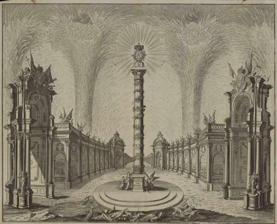 Фейерверк к празднованию Чесменской победы, 1770 г. Гравюра. ГИМ