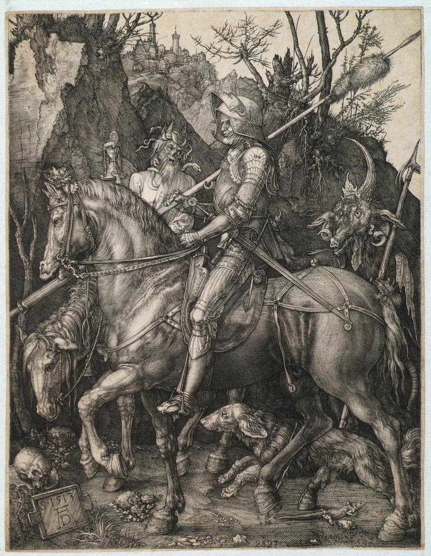 Альбрехт Дюрер. Рыцарь, смерть идьявол.1513г. Изсобрания Пинакотеки Тозио Мартиненго вБрешии
