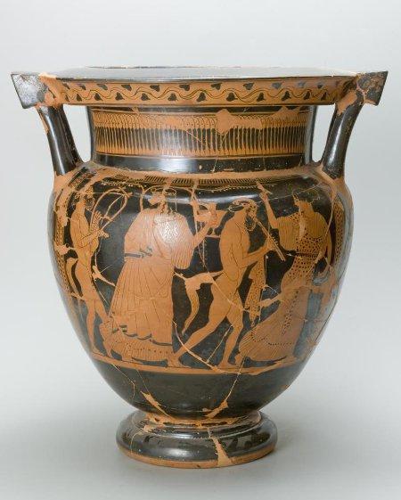 Кратер краснофигурный с изображением Дионисийской сцены. Середина - третья четверть V в. до н.э.
